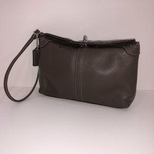 Coach taupe smooth leather top twist lock wristlet